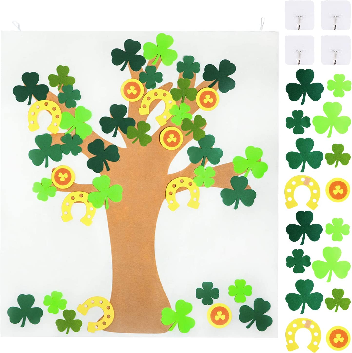 Patrick Party Decorations St WATINC DIY Felt Shamrock Tree with 40Pcs Detachable Ornaments Birthday Party Favors for Kids Good Luck Clover Decor for Patrick Patricks Day Wall Hanging Decoration