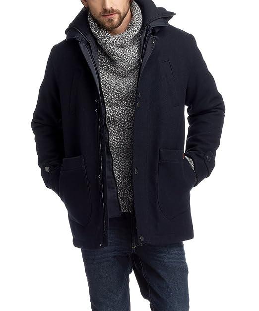 edc by ESPRIT - Abrigo regular fit con capucha de manga larga para hombre, talla 46, color azul (midnight blue) 405: Amazon.es: Ropa y accesorios