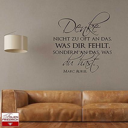 W937 Wandtattoo Sprüche Zitate Denke nicht zu oft an das... - Marc Aurel-  Wohnzimmer (58x60 cm) schwarz