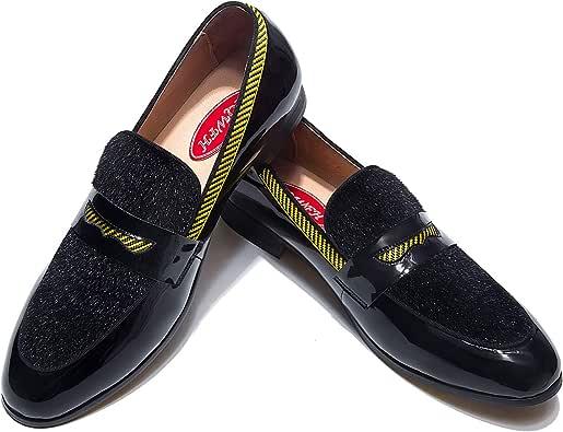 Amazon.com | XQWFH Men's Velvet Loafers, Mens Dress Shoes ...