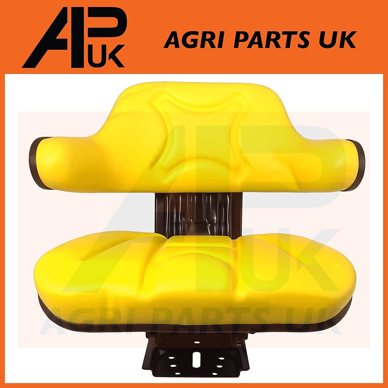 APUK SPRING SPRUNG SUSPENSION SEAT ARMREST BACK YELLOW PAN COMPATIBLE WITH JOHN DEERE TRACTOR MOWER
