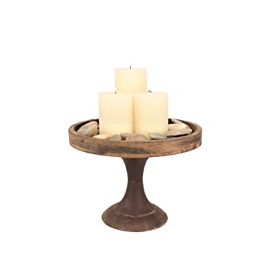 Stonebriar Rustic Worn Natural Wood and Metal Pedestal Tray, Decorative Pillar Candle Holder, For Centerpieces, Mantel Decoration, or Any Table Top, Large