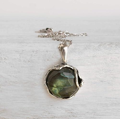 Natural Stone labradorite necklace 20 Sterling Silver Chain Silver Labradorite pendant Handmade LABRADORITE Sterling silver Necklace