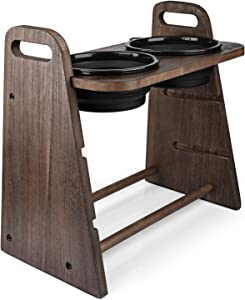 Emfogo Dog Bowls Elevated 3 Heights 4in 8in 13in Wood Raised Dog Bowl Stand with Double Collapsible Travel Bowls Raised Feeder for Dog Cat 16.7x15.5 inch Weathered Walnut
