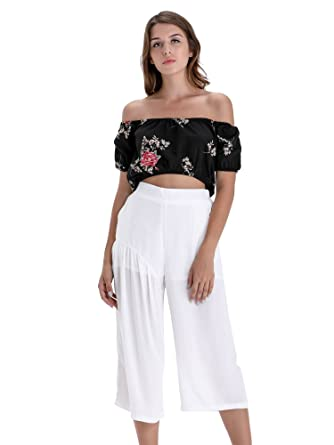 9898eb2346e BARGOOS Women's Summer Off Shoulder Short Sleeve Floral Print Crop Top Lace  Up Tee Blouse Black