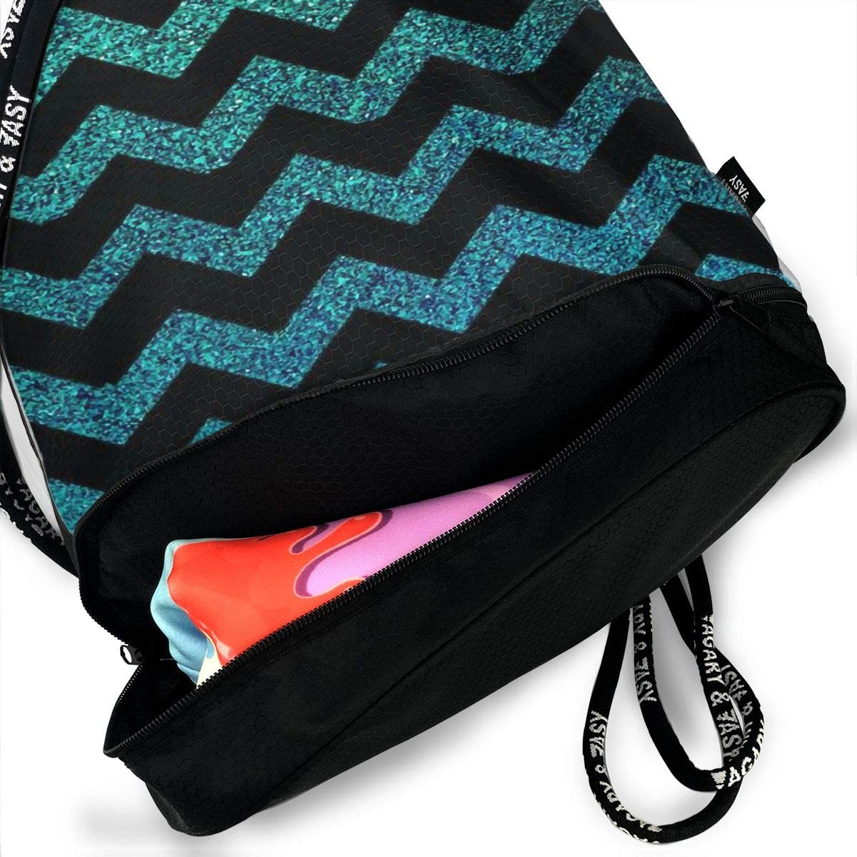 Drawstring Backpack Colorful Chevron Bags