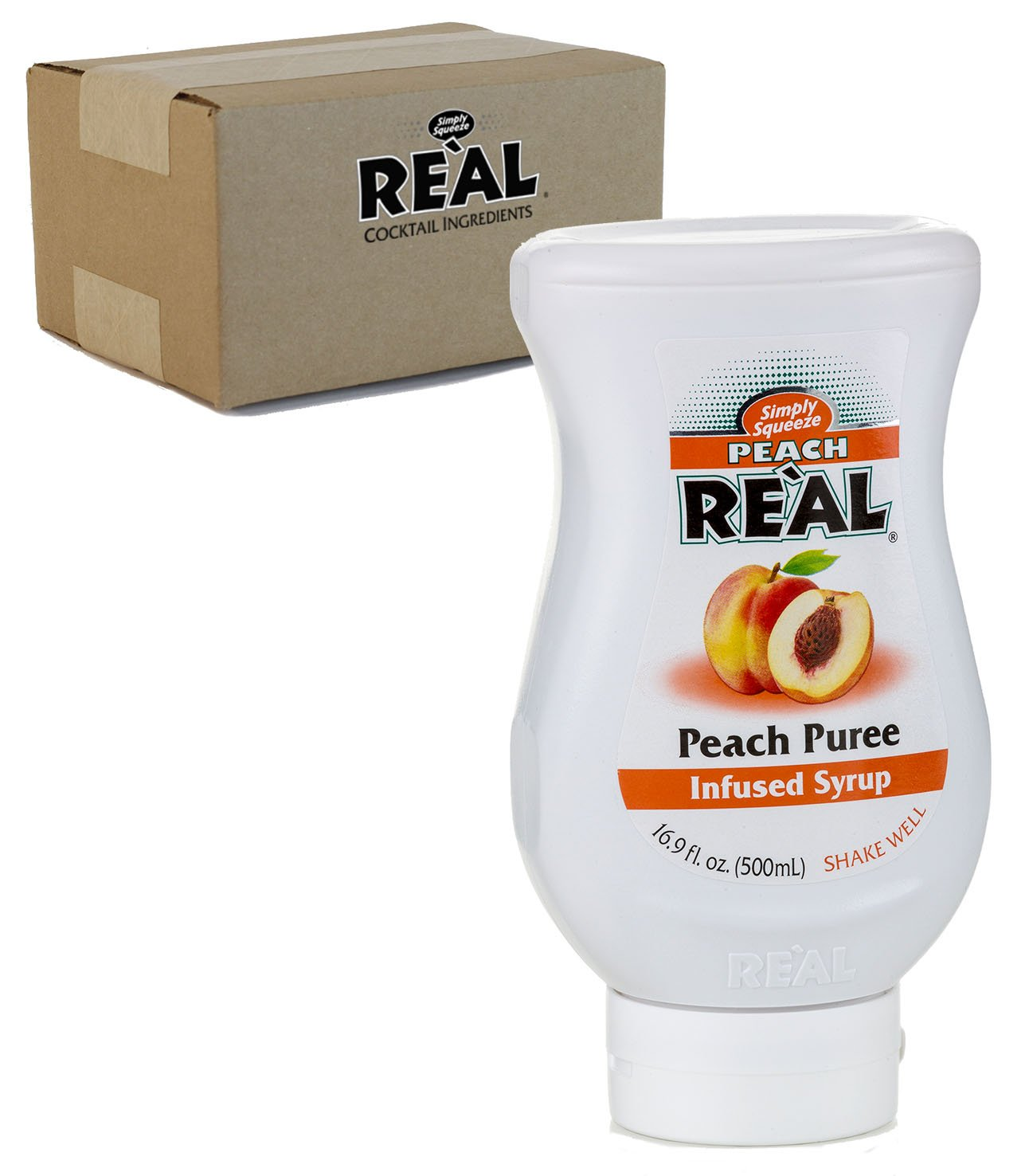 Peach Reàl, Peach Puree Infused Syrup, 16.9 FL OZ Squeezable Bottle (Pack of 1)