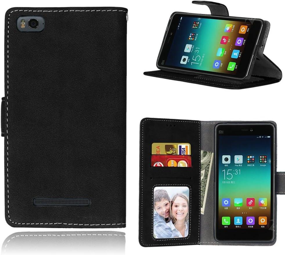 pinlu® Funda para Xiaomi Mi 4i / 4C Función de Plegado Flip Wallet Case Cover Carcasa Piel Retro Scrub PU Billetera Soporte con Ranuras Pequeño Negro