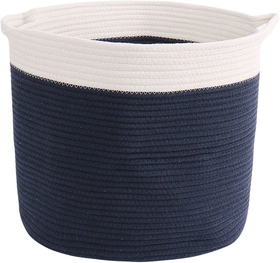 uxcell Home Accessories Cotton Rope Storage Basket with Handles Collapsible Storage Organizer for Closet Shelves Bedroom Office,Laundry Hamper Toy Basket Navy Blue 15