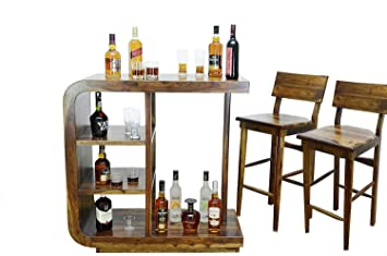 Furniture World 100% Sheesham Wood Stylish Curvy Bar Table for Home and Bar and 2 Chair