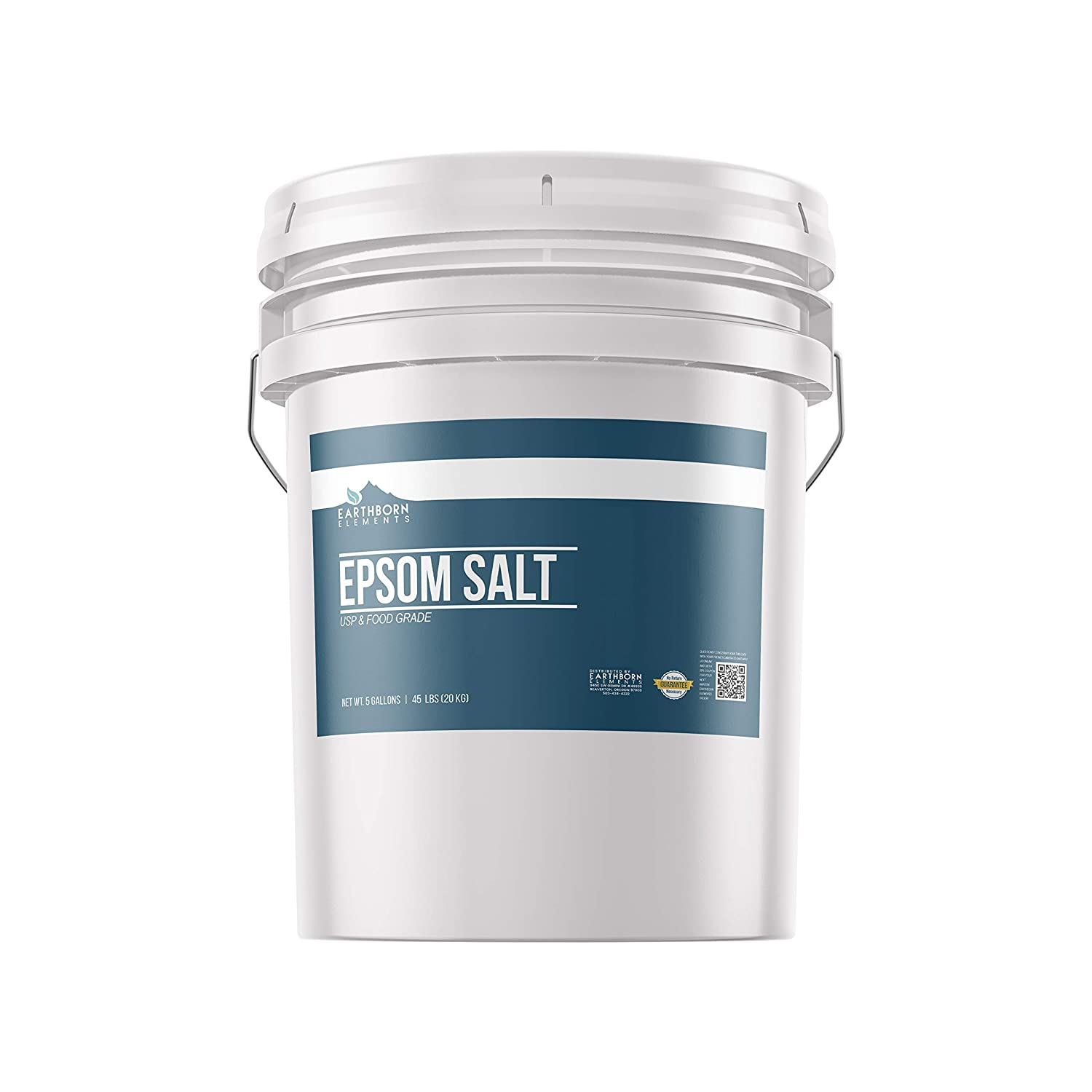 Epsom Salt (5 Gallon (45 lbs.) by Earthborn Elements, Resealable Bucket, Magnesium Sulfate Soaking Solution, All-Natural, Highest Quality & Purity, USP Grade