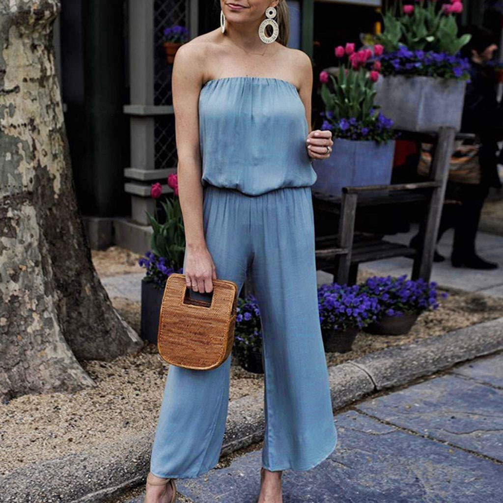 yijiamaoyiyouxia Women Summer Solid Color Off Shoulder Sleeveless Rompers Bandeau Wide Leg Long Jumpsuit Playsuit Blue