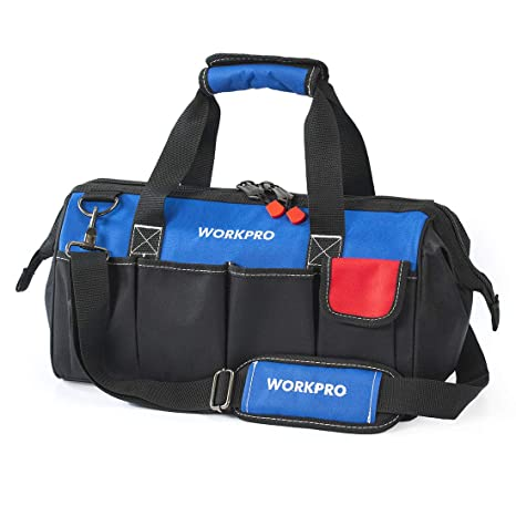 75f7750c38 WORKPRO 18-inch Close Top Wide Mouth Storage Tool Bag with Adjustable  Shoulder Strap
