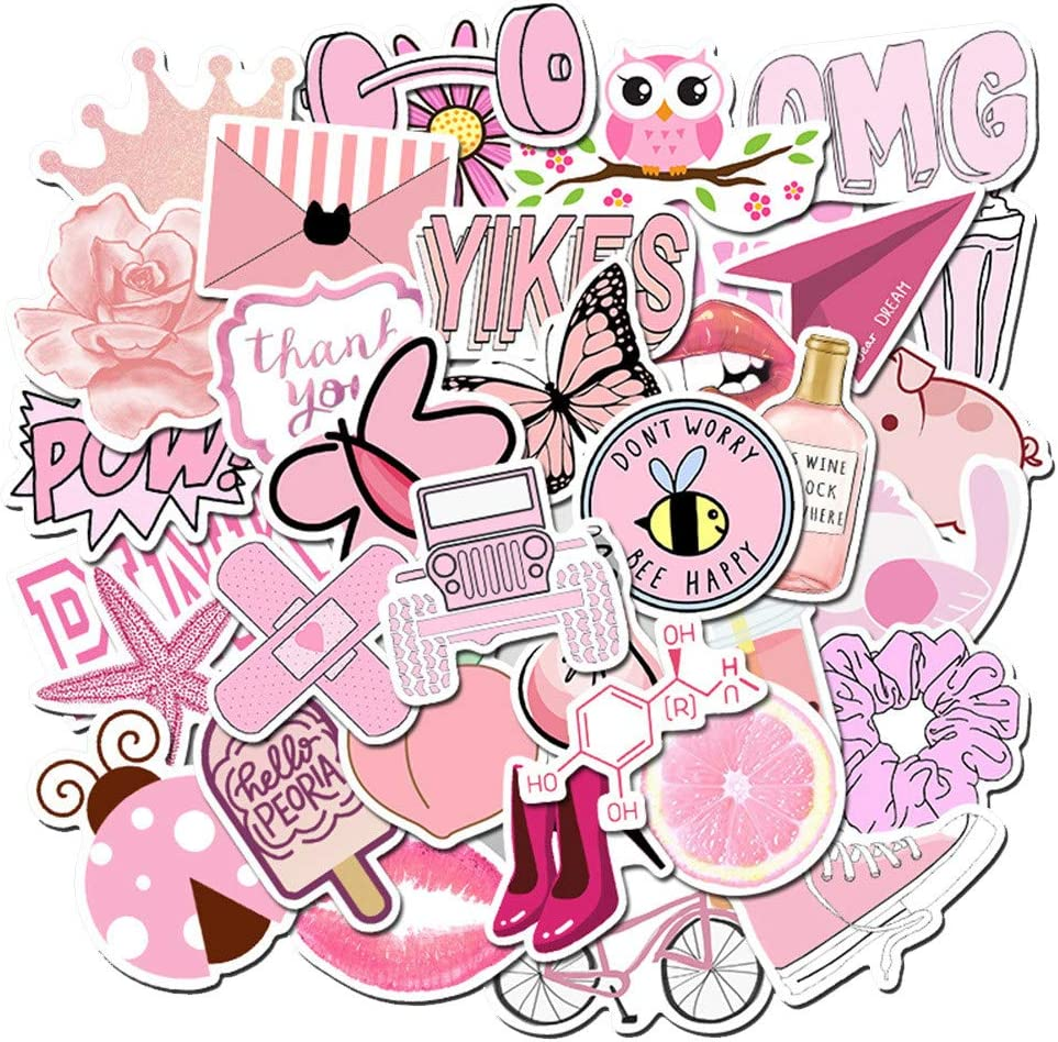 Pink Sticker for Water Bottle Laptop Pink 50pcs Waterproof Lovely Stickers Vinyl for Trendy Kids//Teen Computer Skateboard Luggage Decal Graffiti Patches Decal