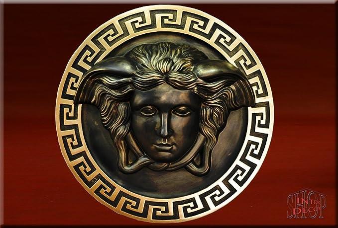 Medusa Relief Wandrelief Wandbild Bild Stuck Stil Mäander Wand Deko CG 26 Fa108