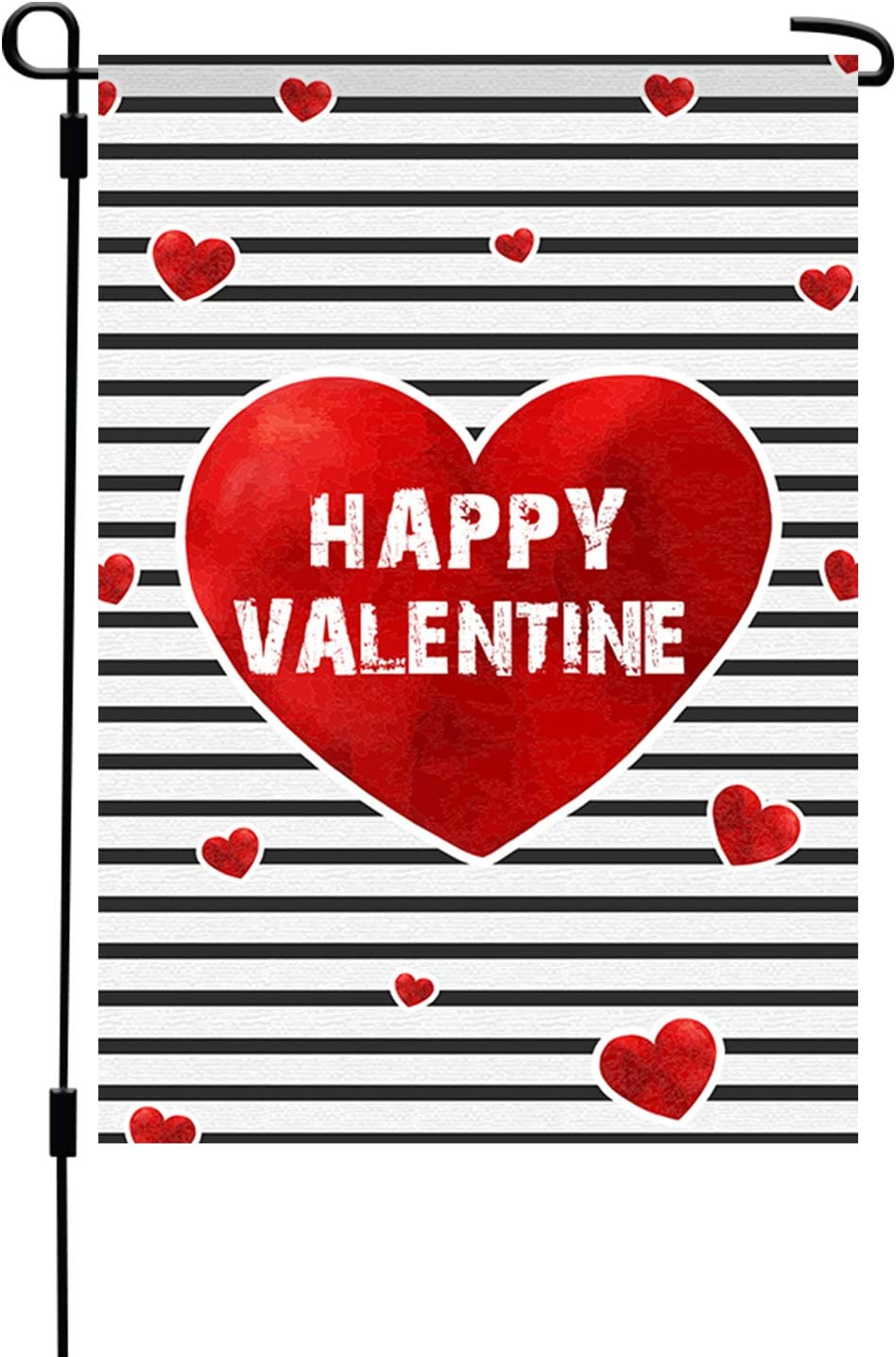 Amazon Com Happy Valentine S Garden Flag Cute Red Heart 12 X 18 Decorative Yard Lawn Decor Polyester Fabric Flag For Valentines Party Indoor Outdoor Party Décor Single Sided Print Garden
