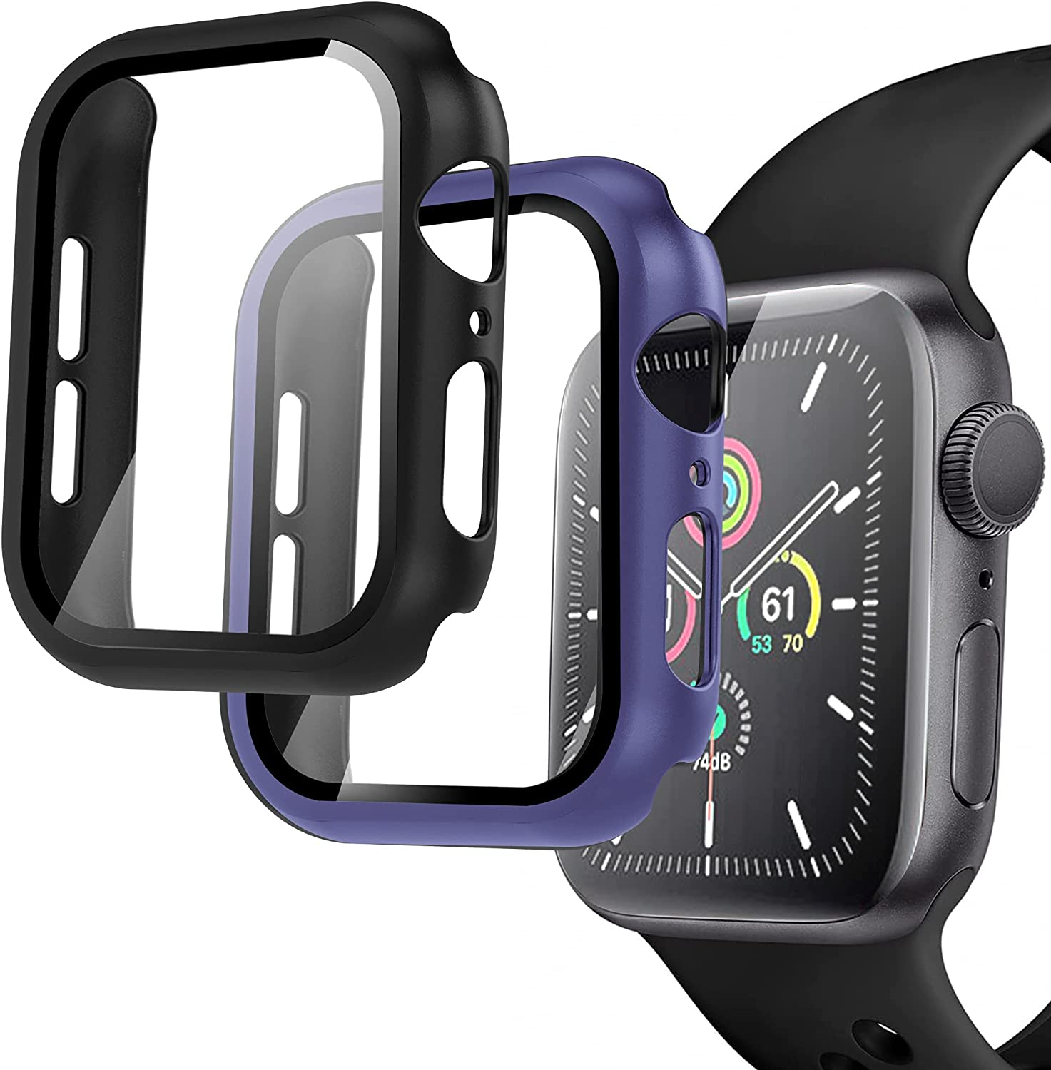 Arae Compatible for Apple Watch Series 6 5 4 SE 44mm Cases Full all around and overall Protection with Tempered Glass Screen Protector for Men Women-2 Packs Black+Blue