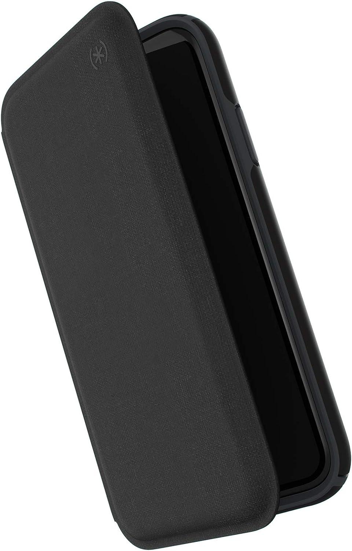Speck Products Presidio Folio iPhone XR Case, Heathered Black/Black/Slate Grey