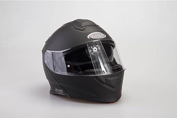 L 59-60 CM Viper RS-V171 Casque Bluetooth Musique MODULAIRE Moto Homme ECE HOMOLOGU/É Femme INTERCOM Scooter Adulte Double Miroir Casque Noir Mat