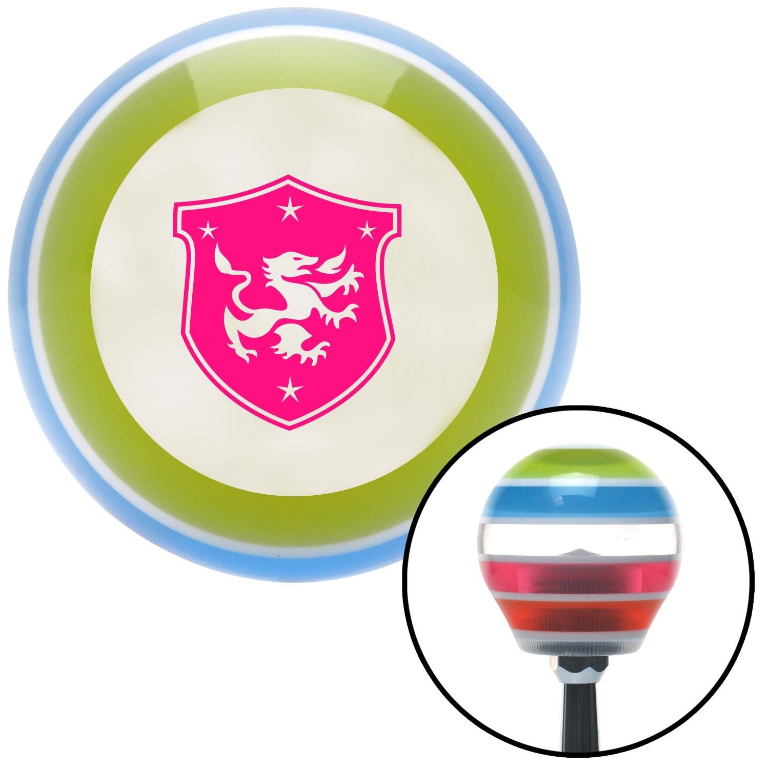 American Shifter 133018 Stripe Shift Knob with M16 x 1.5 Insert Pink Dragon Crest