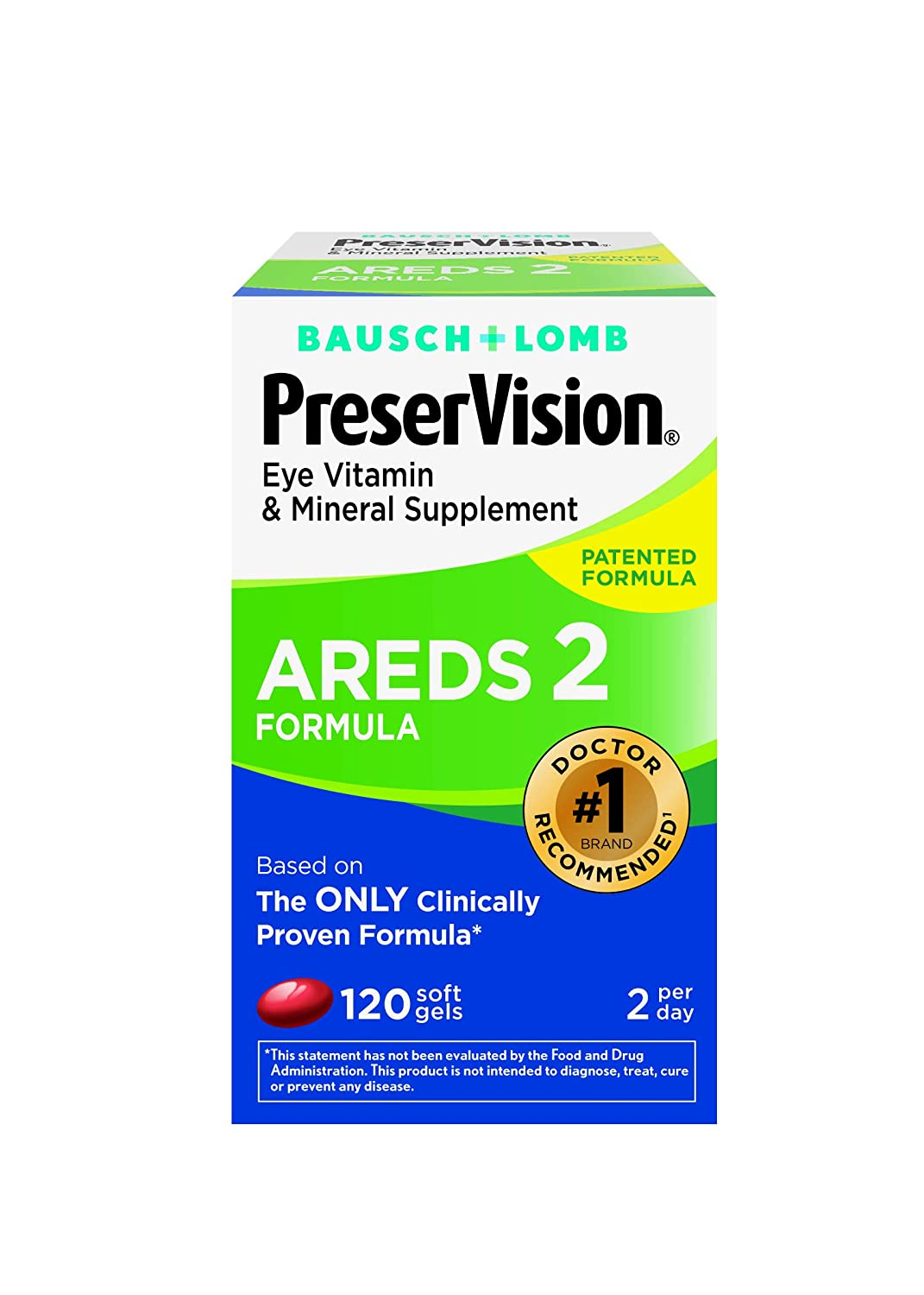 PreserVision AREDS 2 Vitamin Mineral Supplement 120 Count Soft Gels, Packaging May Vary