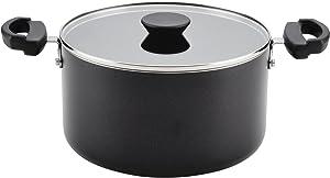 Farberware Neat Nest Aluminum Nonstick Covered Stackable Pots (6-Quart, Black)