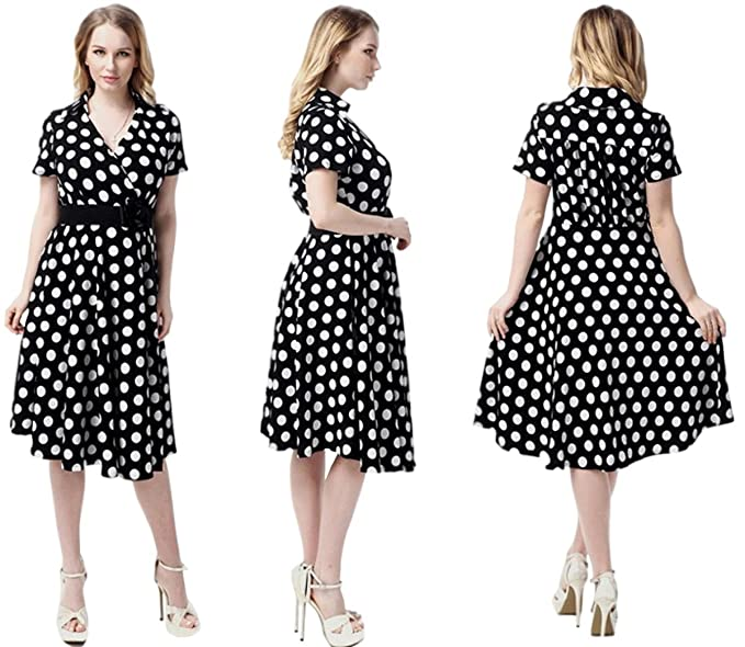 Unomatch Women Collar Neck Plus Size Polka Dots Dress Black at ...