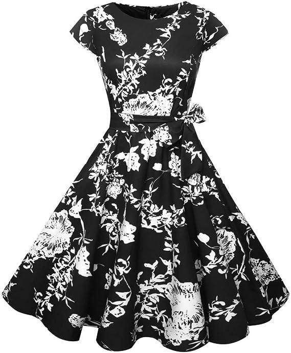 Sumen Elegant Women Vintage Floral Spring Party Cocktail Dress Ball Gown