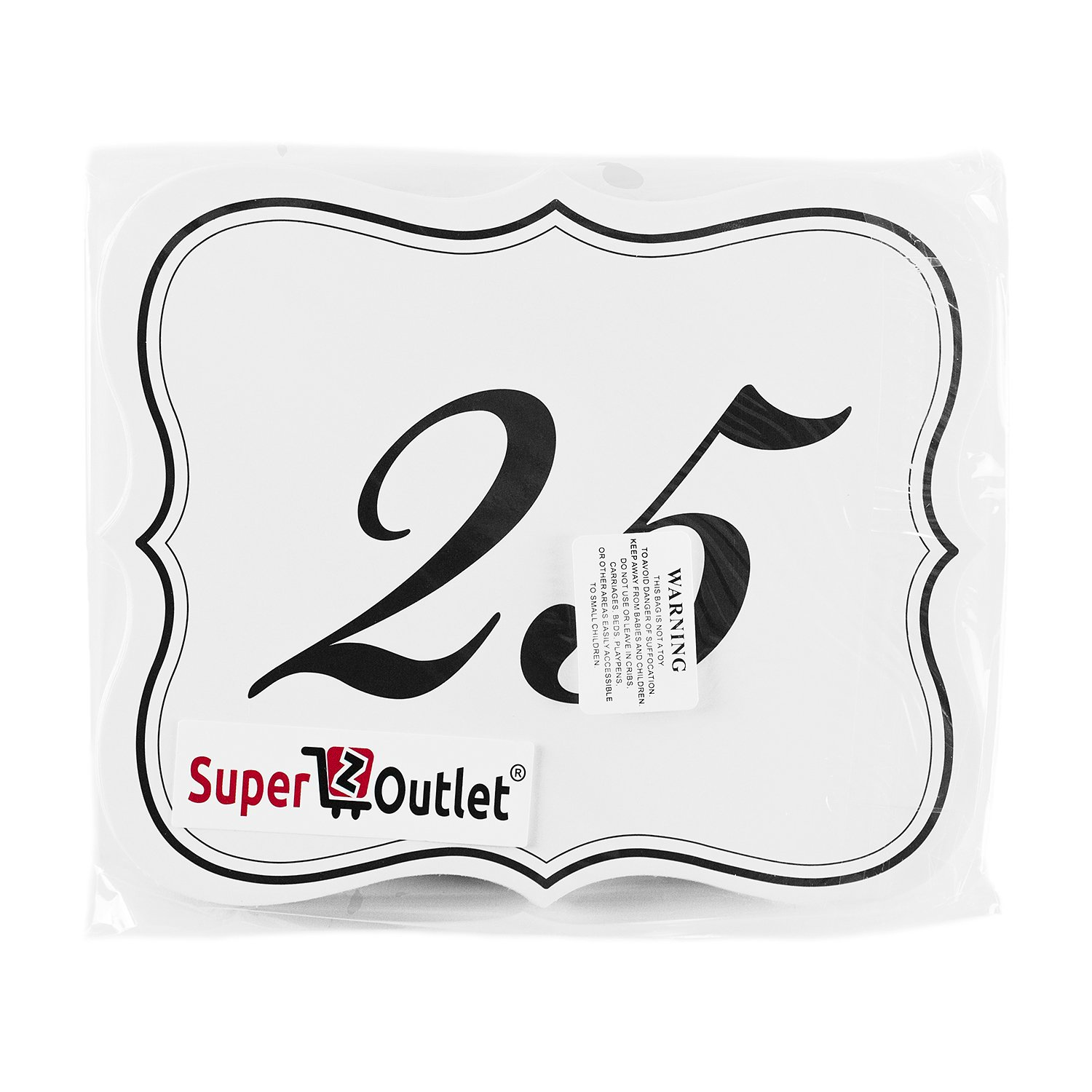 Numbers 1-25 Elegant Table Cards Wedding Reception David Tutera Inspired Scroll Edge Double Side for Party Event Organizing /& Decorating 6 x 5 Super Z Outlet