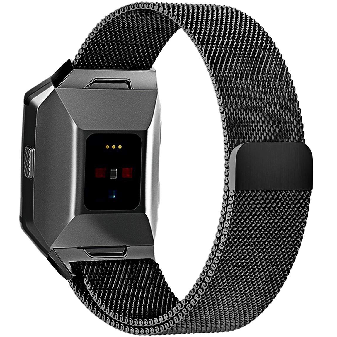 For Fitbit ALTAアルタHR、帯、maledanステンレススチールMilanese Loopメタル交換用アクセサリーブレスレットストラップwith Uniqueマグネットロックfor Fitbit ALTAアルタHR and Large Small、シルバー、ブラック、ゴールド、ローズゴールド B0773CXG5H 4-ブラック Small (5.5 - 8.5 in)