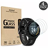 (Pack of 4) Tempered Glass Screen Protector for Garmin Forerunner 735XT, Akwox [0.3mm 2.5D High Definition 9H] Premium Clear Screen Protective Film for Garmin Forerunner 735XT