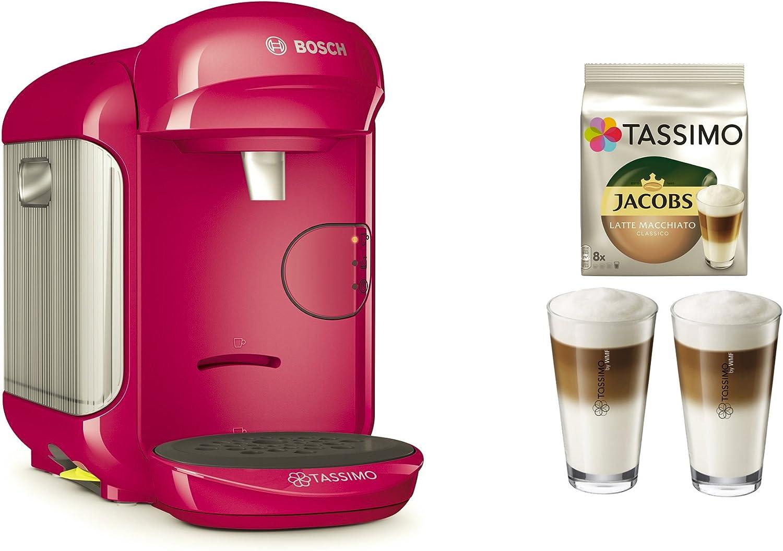 Cafetera Tassimo Vivy 2 de Bosch Bundle + vasos de latte macchiato + Tdisc Latte Macchiato rosa: Amazon.es: Hogar
