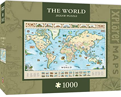 Buy masterpieces xplorer the world map 1000 piece jigsaw puzzle masterpieces xplorer the world map 1000 piece jigsaw puzzle gumiabroncs Gallery