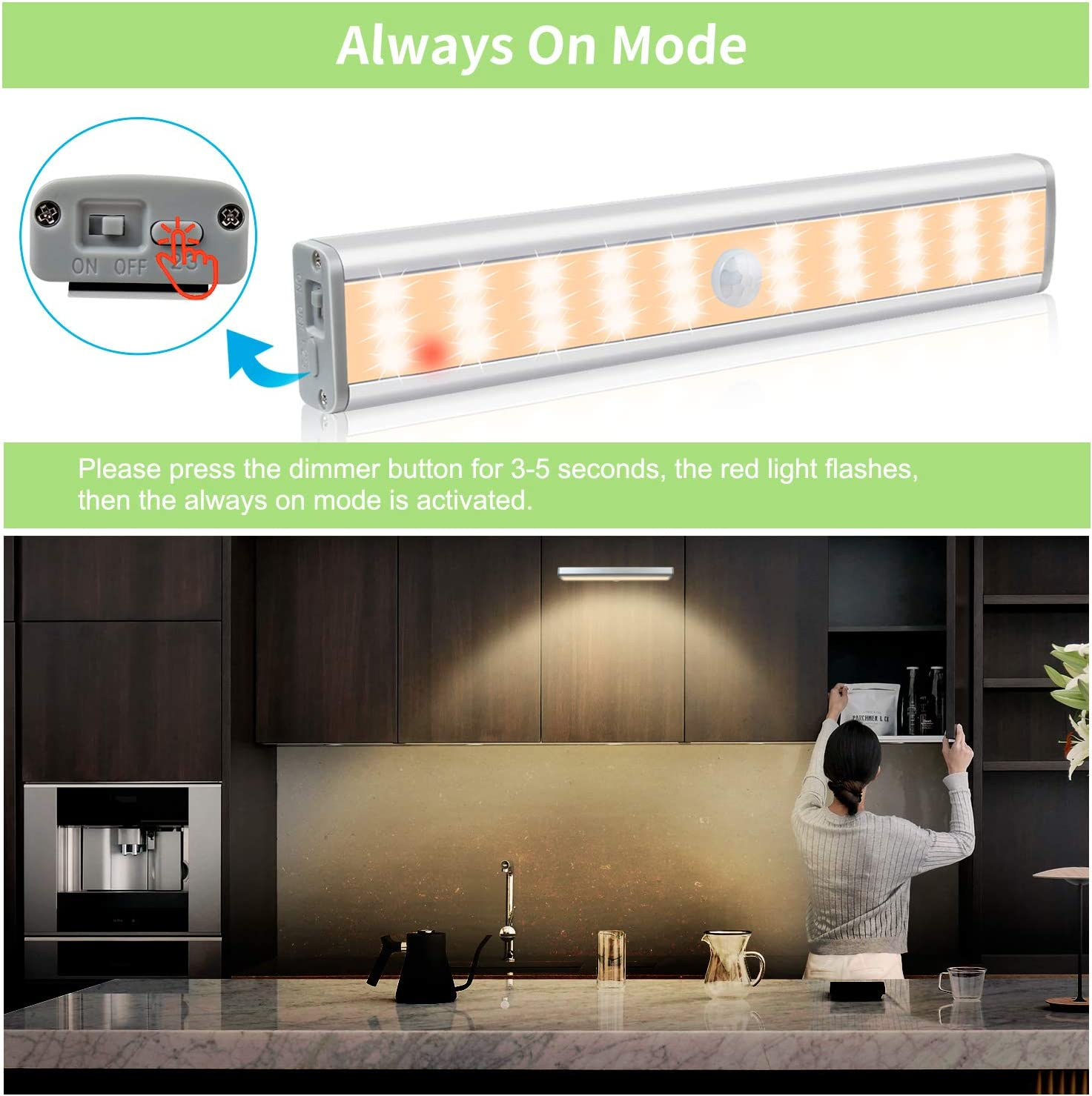 YOHAYO Cabinet Light with Motion Sensor 30 LEDs Cabinet Lighting 3 Brightness Levels Rechargeable Wireless 4 Magnetic Strips Warm White 2 Pieces [Energy Class A+++]