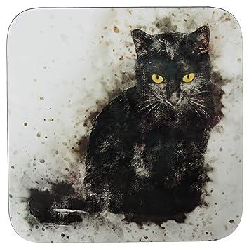 Penny the Poocher Posavasos diseño de Gato Negro, Regalo para Amantes de los Gatos