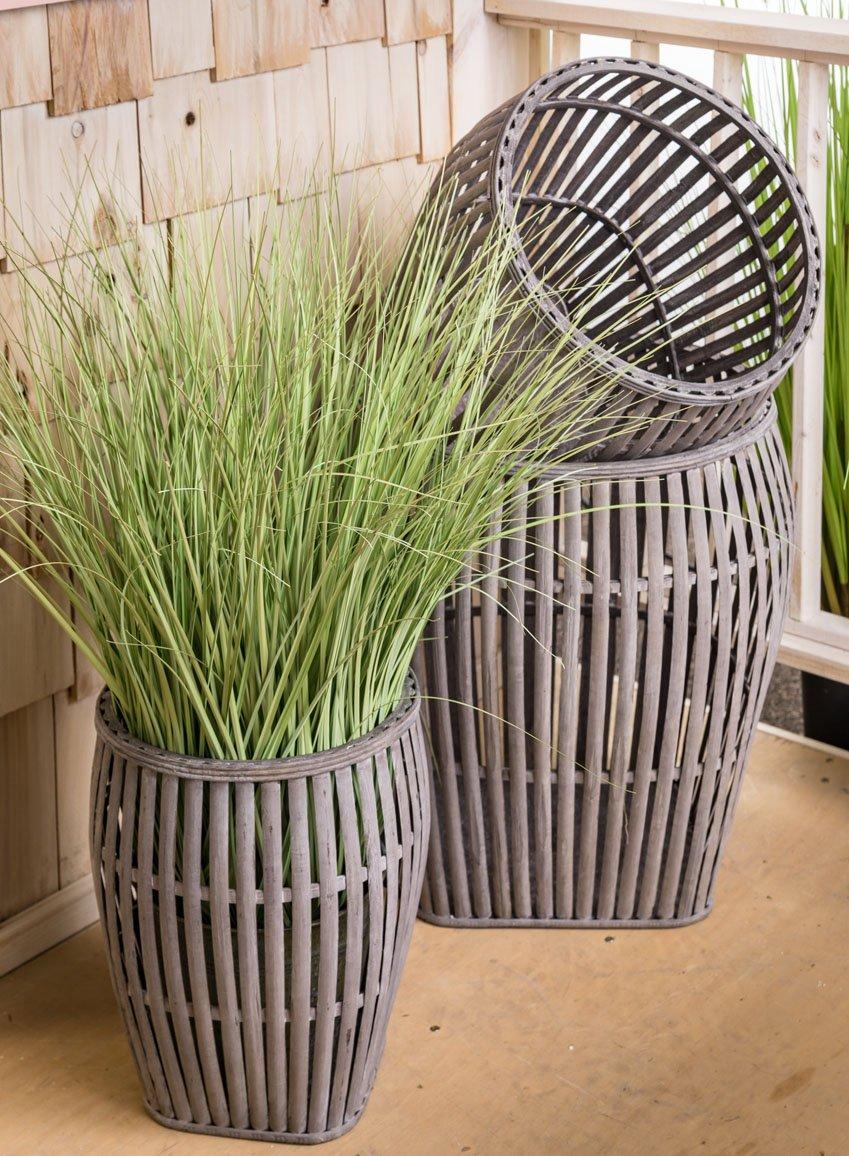 Sullivans MET1124 Oval Standing Vintage Metal Wire Basket 26 x 12 x 28 Inches Black