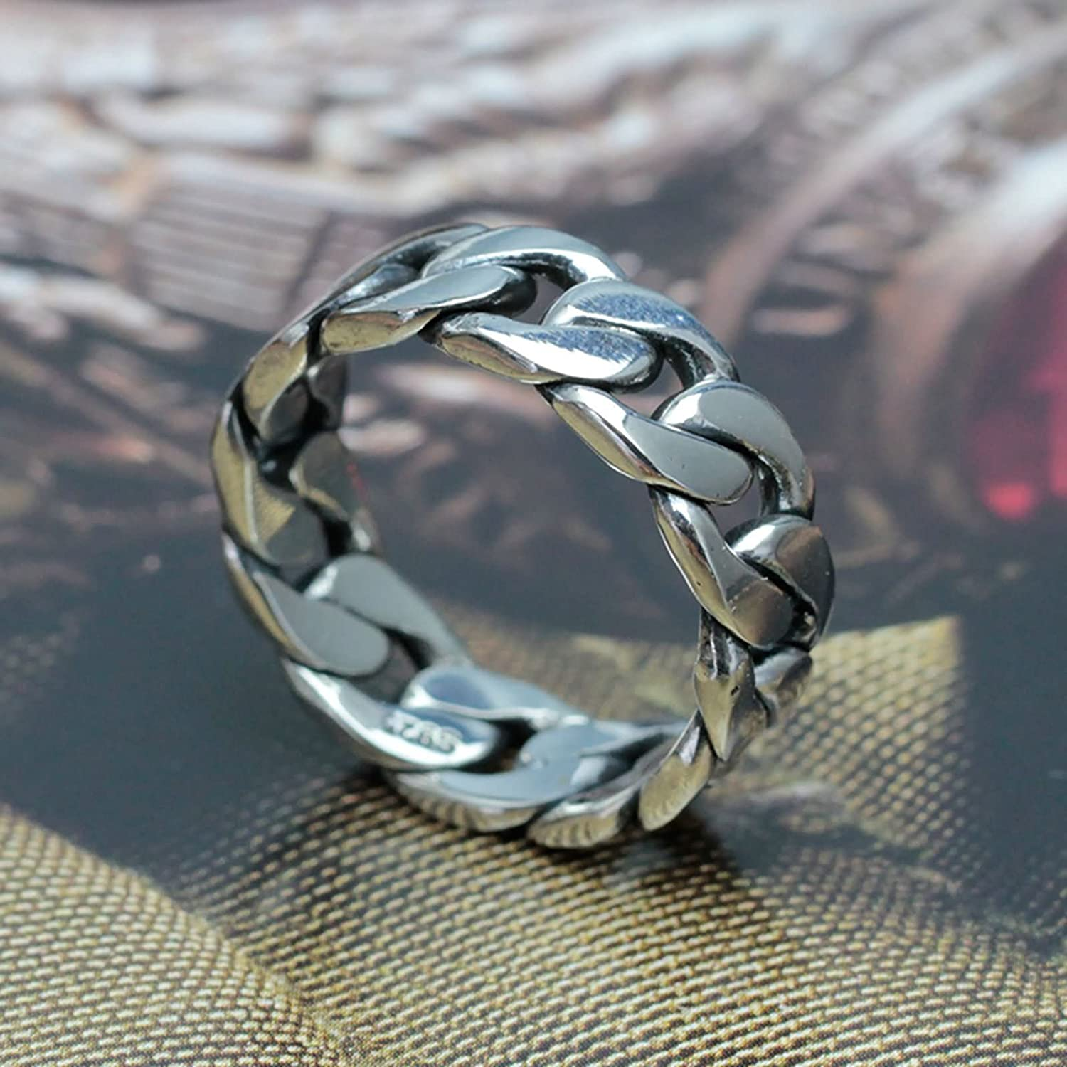 Bishilin Mens Ring Silver Plated High Polished Chain Friendship Rings Silver Size 11