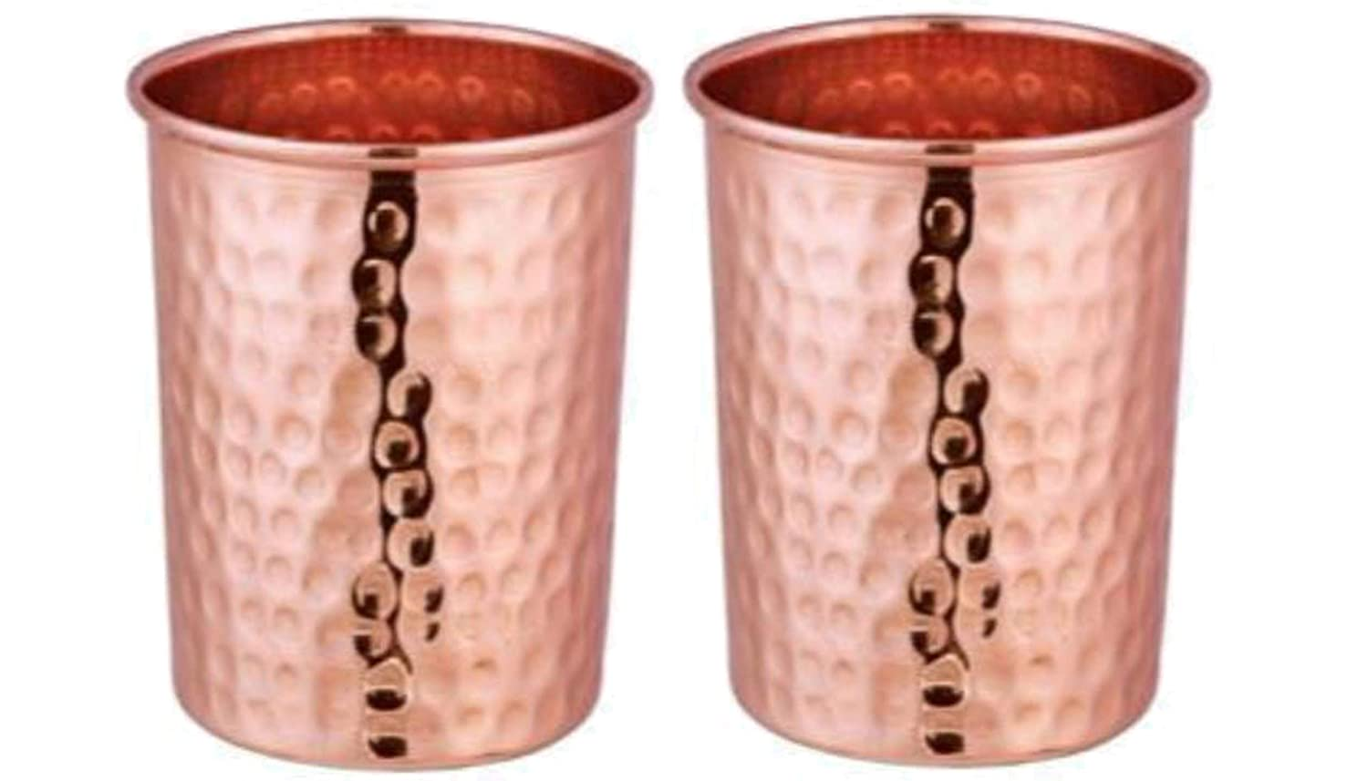 Hammered Copper Drinking Glass Cup Tumbler 300 ml Ayurveda Health yoga