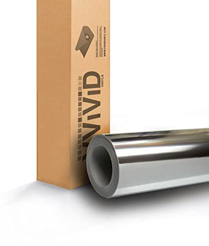 2ft x 5ft Silver Standard Mirror Chrome Vinyl Wrap Roll with VViViD XPO Air Release Technology