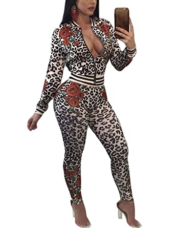 Ladies Sexy 2 Piece Club Outfits Leopard Print Zipper Jacket Skinny Pants  Sweatsuits Set Tracksuits Small 9fc4c8ff4