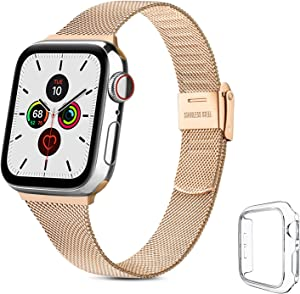 YILED Slim Bands Compatible for Apple Watch 40mm with Protective Case, Adjustable Stainless Steel Mesh Replacement Strap for iWatch SE Series 6/5/4 (Rose Gold, 40mm)