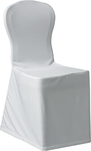 Snap Drape SILCHC-WH Chair Cover, Fits Most Banquet Stacking Chair (17-1/2