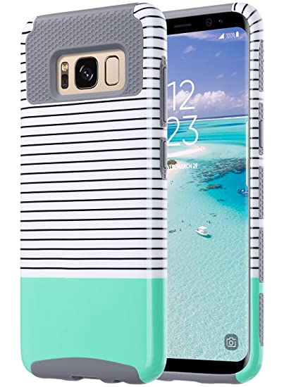 big sale 1a62e ad6cb ULAK S8 Case, Galaxy S8 Case, Hybrid Case for Samsung Galaxy S8 2017  Release 2-Piece Dual Layer Style Hard Cover (Minimal Mint Stripes+Grey)  Will not ...