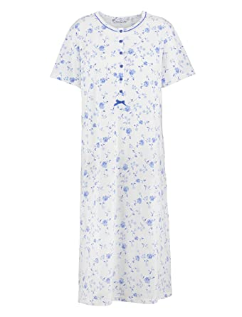 Ladies Slenderella 100% Jersey Cotton Floral Nightdress Short Sleeved  Flower Nightie (Blue or Pink) at Amazon Women s Clothing store  e6c02f36e