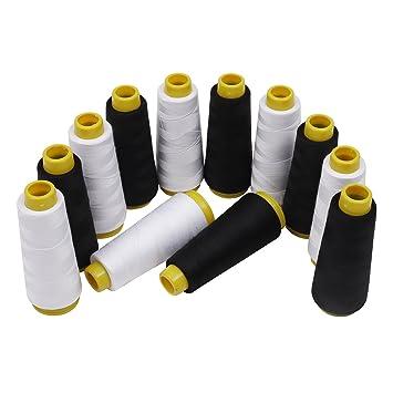 Kurtzy Hilo de poliester/Hilo maquina coser - 12 Piezas Negro y Blanco hilo -