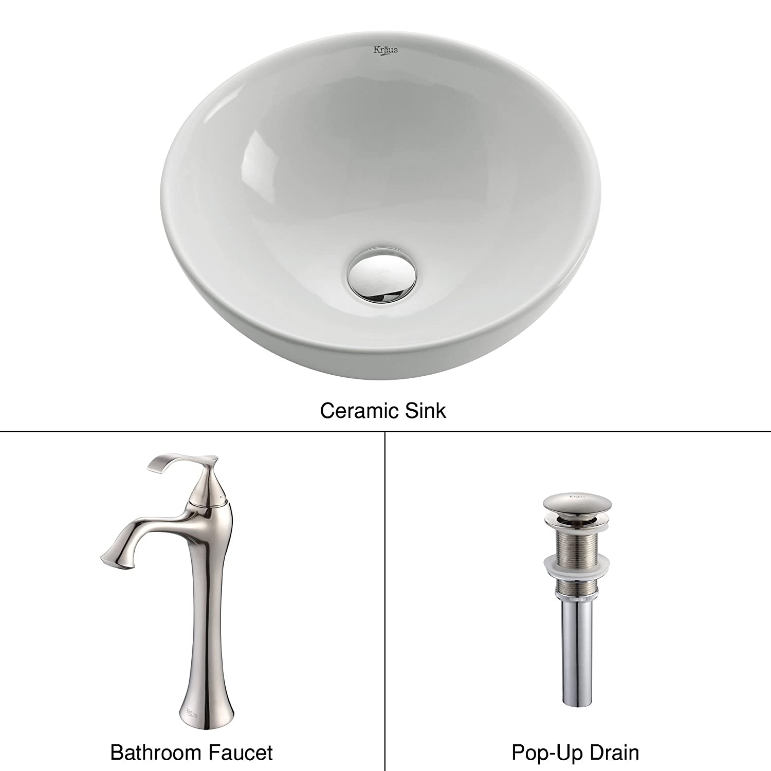 Kraus C-KCV-141-15000BN White Round Ceramic Sink and Ventus Faucet Brushed Nickel