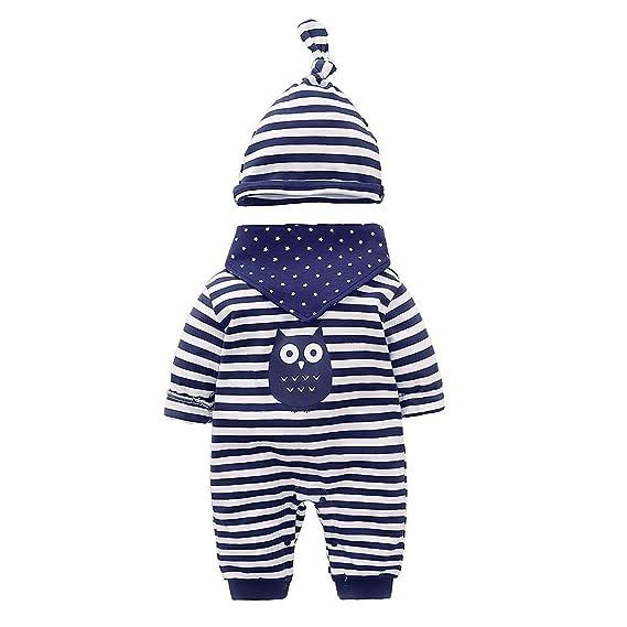 694e5fdca Baby Girls Boys Cute Navy Blue Owl Bodysuits Newborn Rompers+Hat Saliva  Towel: Amazon.ca: Clothing & Accessories