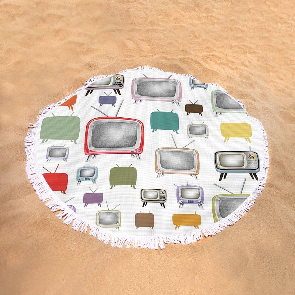 Pixels Round Beach Towel With Tassels featuring ''Retro T.v.'' by Setsiri Silapasuwanchai
