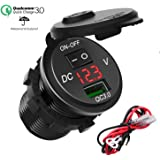 SonRu QC3.0 USB Car Charger, 12V/24v/ 18W Waterproof Quick Charge 3.0 USB Charger Adapter with On Off Switch LED Indicator for Car RV ATV Boat Marine Motorcycle Mobile