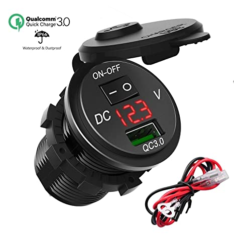 SONRU QC3.0 12V USB Outlet with Voltmeter & ON/OFF Switch, 18W Waterproof USB Charger Socket Power Outlet for 12V/24V Car RV ATV Boat Kayaks Marine ...